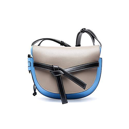 DRAKE18 Sattel Umhängetasche für Frauen Vintage Rustikal Retro Style Echtes braunes Leder Travel Handmade Purse,Gray -