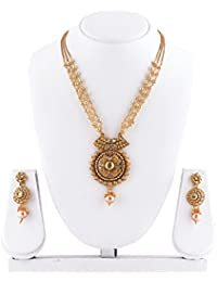 MUKH FASHION Gold Plated Necklace Set With Pearl Chain And Floral Design With Antique Touch