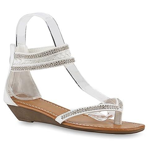 Damen Keilsandaletten Sandaletten Denim Bast Leder-Optik Keilabsatz Sandalen Wedges Schuhe 143539 Weiss Zehentrenner 38 |