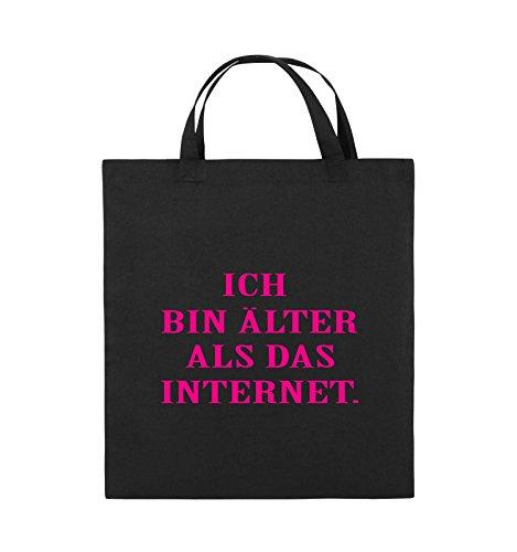 Comedy Bags - ICH BIN ÄLTER ALS DAS INTERNET - Jutebeutel - kurze Henkel - 38x42cm - Farbe: Schwarz / Silber Schwarz / Pink