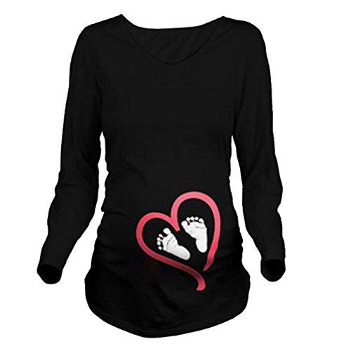 Maternity Umstandsmode T-Shirt Langarm Shirt Damen Langarmshirt Umstandsshirt Schwangerschaft Umstands Shirt Jersey Top Pullover Schwarzfuß 2XL Meedot
