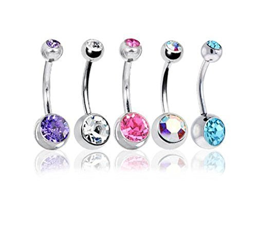 SavingMart Pack of 5 Double Jewel 14G Surgical Steel Belly Button Navel Barbells Ring Body Piercing Jewelry