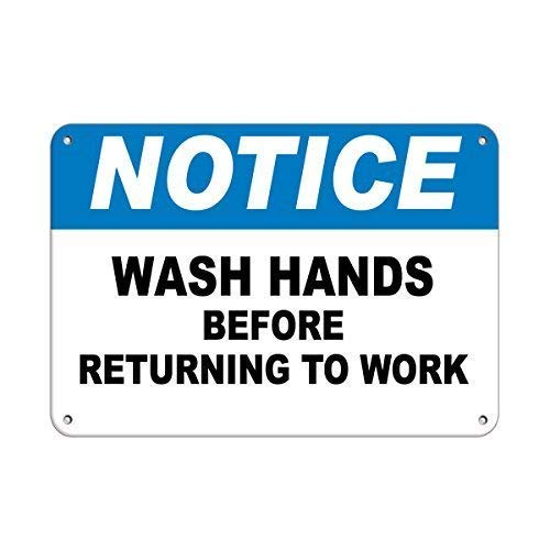 Tomlinsony Blechschild Metal Tin Sign Aluminum Notice wash Hands Before Returning to Work Sign 12