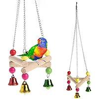 KINJOHI 1pc pájaros de Madera Juguetes Loro Cockatiel Perico Swing Jaula Escalada Bell Masticar Juguete Colgante
