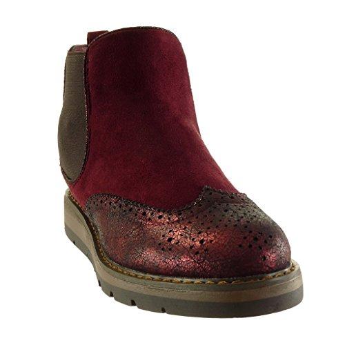 Angkorly Scarpe Da Donna Stivaletti - Chelsea Boots - Bi-material - Platform Shoes - Cuciture Trapuntate Lucide - Tacco A Zeppa Forato 3 Cm Bordeaux Rosso