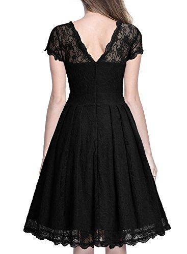 Miusol Damen Elegant Spitzenkleid Cocktailkleid Knielanges Vintage 50er Jahr Abendkleid Schwarz Gr.M - 3