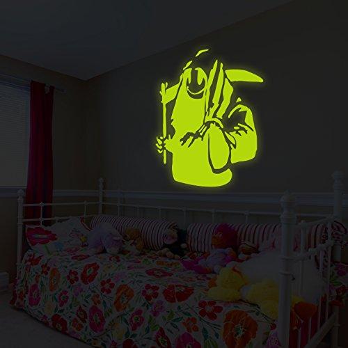 (128x 140cm) Banksy Glowing Vinyl Wand Aufkleber Death mit Happy Smile Face/Glow in Dark Doom mit Braid Aufkleber/Leuchtziffern Wandbild + Gratis Aufkleber Geschenk (Happy Face-wand-aufkleber)