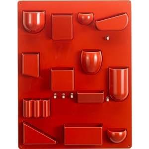 Vitra 20129503 Porte-objets mural Uten.Silo II 680 x 520 x 65 mm en plastique avec crochets en métal (Rouge)