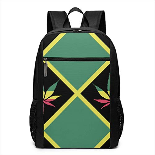 TRFashion Rucksack Weed Flag of Jamaica Laptop Computer Backpack 17 Inch Fashion Casual Business Daypack Laptop Bag Schoolbag Book Bag for Men Women Black (Book Coach Bag)