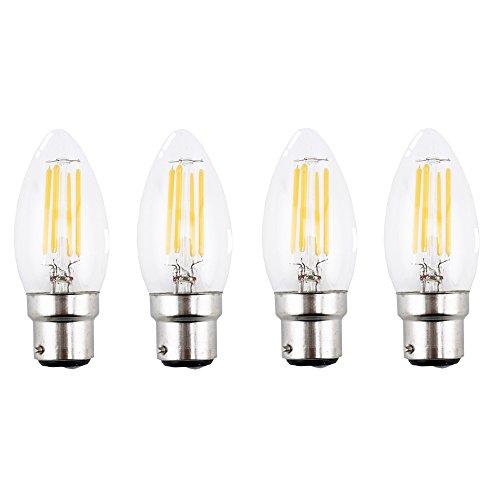 Bonlux 4-Stück C35 LED Kerze Glühbirne B22 4W 220V Warmweiß 2700K 400 Lumen Bajonett B22-Sockel Vintage Edison LED Kerze Glühlampe wie 35W traditionelle Glühbirne (nicht dimmbar) (Bajonett-sockel)