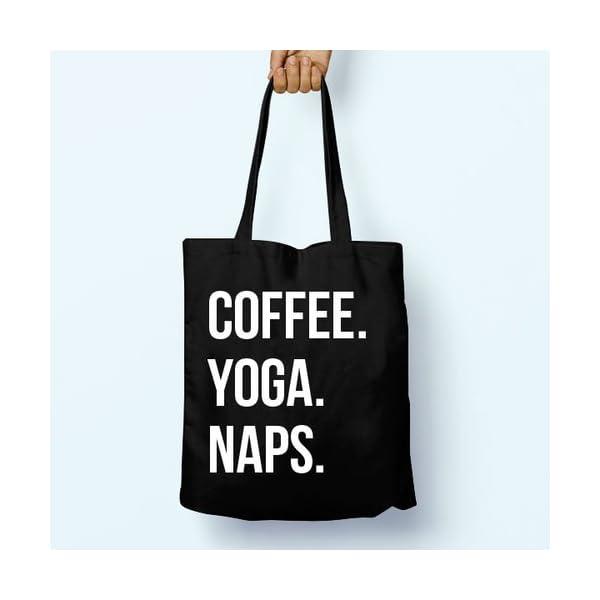 Coffee Yoga Naps, Shoulder, Tote, Long Handles, Graphic, Cute, Tumblr, Hipster, Beach, Gym, Festival, School, Bag - handmade-bags