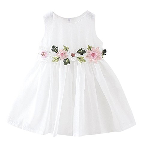 (Kobay Kleinkind Baby Kind Mädchen Lange Ärmel gestrickt Bow Newborn Tutu Prinzessin Kleid 0-24M (1-2T, S-Weiß-1))