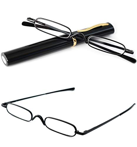 VEVESMUNDO® Lesebrille Damen Herren Federscharnier Metall Schmal Klein Mini Leicht Lesehilfe Sehhilfe Klare Arbeit Brillen Stärke mit Etui (Schwarz, 2.5)