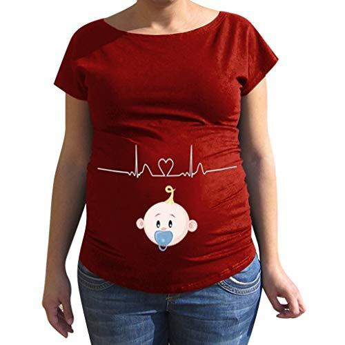 Linkay T Shirt Damen Kurz Cartoon-Muster Bluse Tops Mutterschaft Baby Oberteile Mode 2019 (Rot, Medium) - Stricken Mutterschaft Pullover