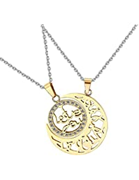 "Aaishwarya ""I Love You"" & Moon Shaped Golden Stainless Steel Couple Pendant Necklace/Chain For Girls & Boys For..."