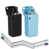 2PCS Collapsible Reusable Stainless Steel Drinking Straws Keychain Foldable (E)