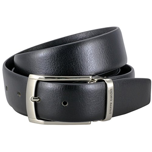 Pierre Cardin Mens leather belt / Mens belt, Letaher belt curved with metal loop, black, Größe / Size:105;Farbe / Color:nero