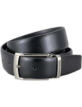 Pierre Cardin Mens leather belt / Mens belt, Letaher belt curved with metal loop, black