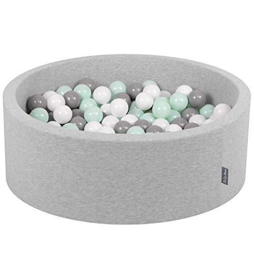 KiddyMoon 90X30cm/200 Bälle ∅ 7Cm Bällebad Baby Spielbad Mit Bunten Bällen Rund Made In EU, Hellgrau:Weiß/Grau/Minze