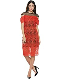 Black and red drop sleeves net short dress