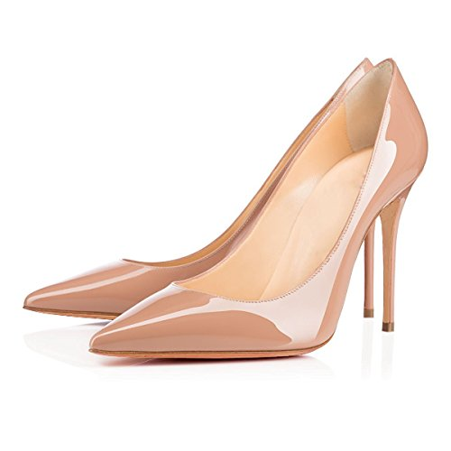 uBeauty Damen Slip On Stilettos High Heels Pumps Geschlossene Spitze Zehen Übergröße Klassischer Schuhe Natur Lackleder
