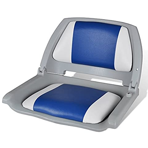 Boat Seat Foldable Backrest With Blue-white Pillow 41 x 51