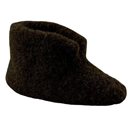 SamWo Fußwärmer Hausschuhe 100% Schafwolle Dunkelbraun, Größe: 45-46 DBR P