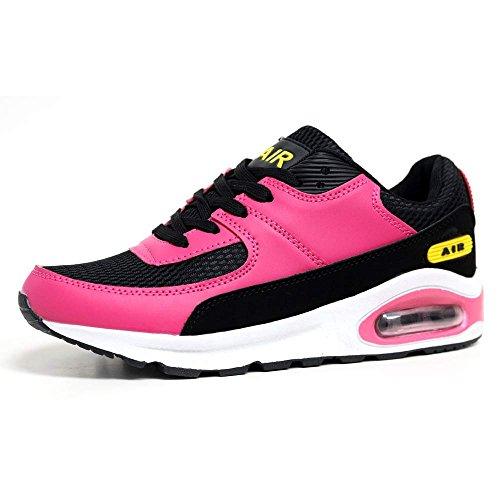 Airtech - Scarpe da running, assorbimento degli urti, per fitness, palestra o sport, da donna, n. 39, nero (Black / Raspberry), Formato delle signore 39 EU