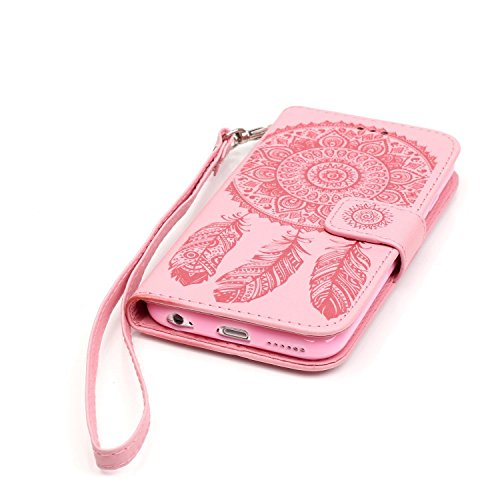 ISAKEN Custodia iPhone 6 Plus, Cover iPhone 6S Plus, Elegante borsa Custodia in Pelle Protettiva Flip Portafoglio Case Cover per Apple iPhone 6 Plus (6 5.5) / con Supporto di Stand / Carte Slot / Chi Dreamcatcher: rosa