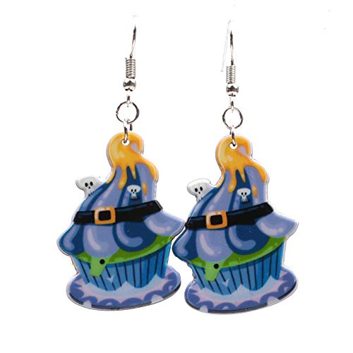 Skyeye Halloween Cartoon Kürbis Eiscreme Styling Ohrringe Acryl Ornamente Frau Party Geschenk Anhänger Ohrringe Blau