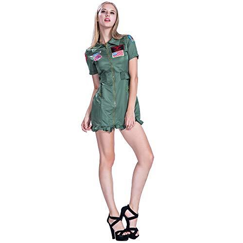 Damen Für Flieger Kostüm - EraSpooky Damen Pilot Kostüm Flieger Faschingskostüme Cosplay Halloween Party Karneval Fastnacht Kleidung für Erwachsene