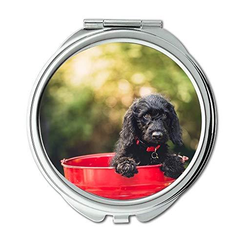 Yanteng Spiegel, Compact Mirror, Adorable Hund Eimer Tier Canine Cute Pet Puppy, Taschenspiegel, Tragbare Spiegel (Aufkleber Hundefutter)
