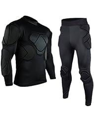 Casque de gardien de but à manches longues vêtements Coudières kneecaps haut porter + pantalon long