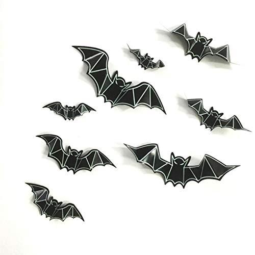SUNREEK 40 Stück Schwarze 3D PVC Fledermaus-Wandaufkleber Leuchten im Dunkeln Fenster Aufkleber für Halloween Party Dekoration (Halloween Fenster Aufkleber)