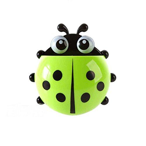 Rcool cute cartoon ladybug shape sucker gancio portaspazzolino dentifricio mensola ventosa rack bagno set, plastica, green, 14.5*13.8cm/5.71*5.43