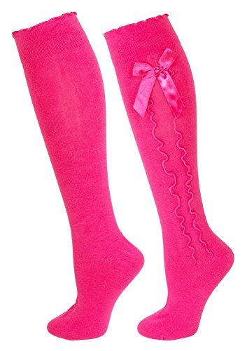 Trachten Kniestrümpfe für Damen Pink Gr. 39-42 - Schöne Strümpfe in verschiedenen Farben mit süßer Schleife und Rüschen