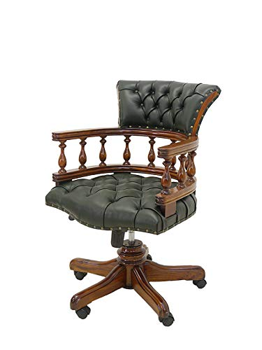 Schreibtischsessel Bürostuhl Chefsessel Captain Chair mit grünem Leder (4552)