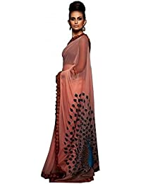 Rajeshwar Fashion Women's Georgette Saree With Blouse Piece (9321 Pickock Pink Colour)