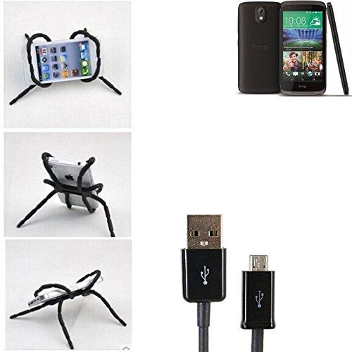 """Tischständer mit Ladekabel, Ladestation, Dockingstation für HTC Desire 526G Dual SIM, schwarz """"Spider"""". Stativ Autohalterung mit Micro-USB Ladekabel - K-S-Trade"""