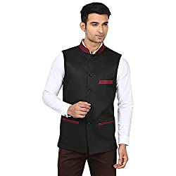 QDesigns Mens Nehru Jacket (WJ_15_Black & Red_38)