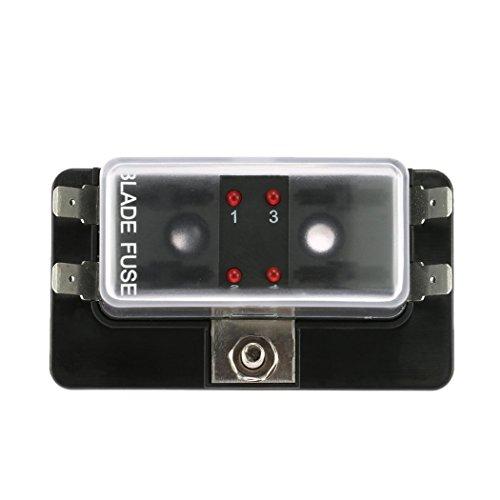 Preisvergleich Produktbild Sicherungskasten,  Bodecin LED Beleuchtete Klemmen Stromkreis Kfz ATC ATO Klinge Sicherung Block Sicherungshalter Sicherungsträger Mit Abdeckung(4-Fach)