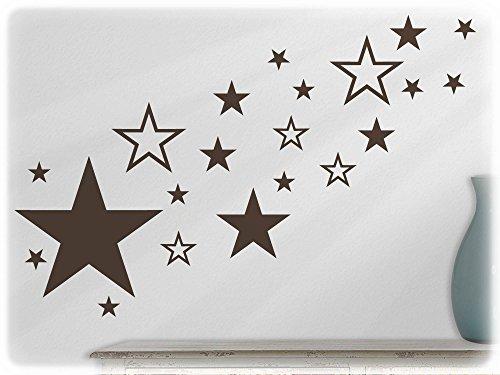 wandfabrik - Wandtattoo - 82 schöne Sterne in braun Disney Weltkarte