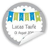 in due Aufkleber 'Baby' 24 Stück (4 cm) personalisiert Taufe Geburt Junge oder Mädchen Farbwahl