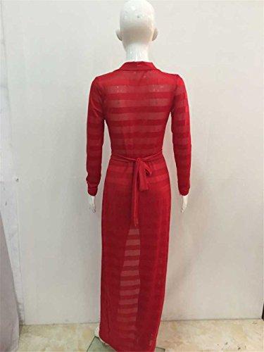 Femmes sexy à manches longues en dentelle crochets Qipao de Split Châle Robe longue Jumpsuit Rouge