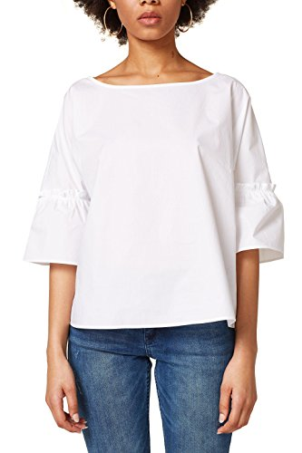 ESPRIT Damen Bluse 028EE1F006, Weiß (White 100), Medium