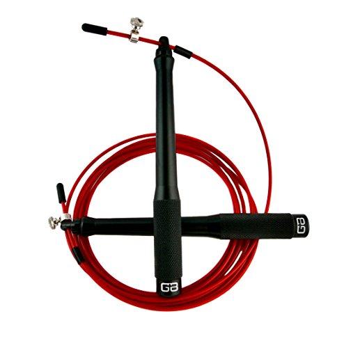 GRAVITY BOOST® Ultimate Speed Rope ALUMINIUM - Springseil Ideal für CrossFit Training, WOD's, Boxen, MMA und Fitnessübungen - CNC Gefräste Aluminium Griffe - Inklusive Gratis Trainingshandbuch und Tragetasche – The Functional Fitness System® (Springseil - Speedrope - Seilspringen - Crossfit - Jump Rope) (Black) Gravity Box