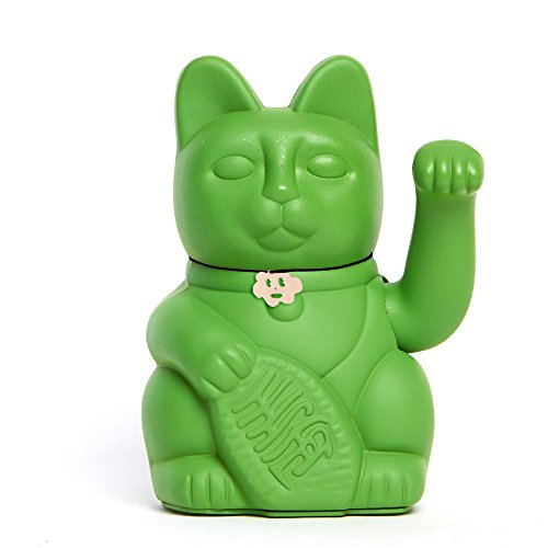 Lucky Cat. Der klassische Glücksbringer in winkender Katzengestallt oder Maneki-Neko in fröhlichen Farben. HULKGRÜN: Zieht Glück zu ihren Verwandten. 12x9x18cm
