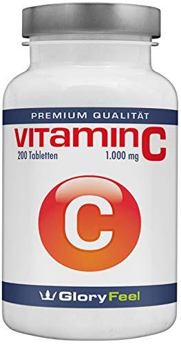Der Vitamin C VERGLEICHSSIEGER 2018* - 1000mg Hochdosiert - 200 vegane Tabletten - Bis zu 7 Monate Vollversorgung - Laborgeprüft und ohne unerwünschte Zusätze von GloryFeel