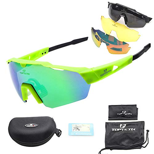 Toptotn Gafas de Sol Deportivas, Gafas De Sol Polarizadas para Ciclismo con 3 Lentes Intercambiables UV400 Bicicleta Montaña (Green)
