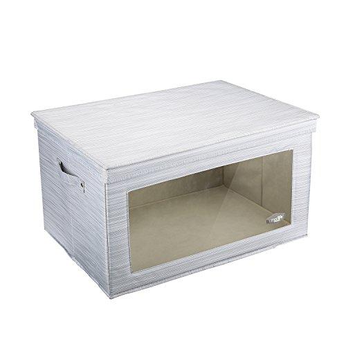 Aufbewahrungsboxen mit Fenster, Mee'life Storage Große Mega Box Faltbare Dick Polyester Stoff Aufbewahrungsbox Koffer Container mit Deckel Dual Griffe Organizer Tasche für Kleidung Decke (hellgrau) (Schuh-boxen Schrank)